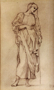 Edward Coley Burne-Jones - Study Of A Standing Female Figure Holding A Staff
