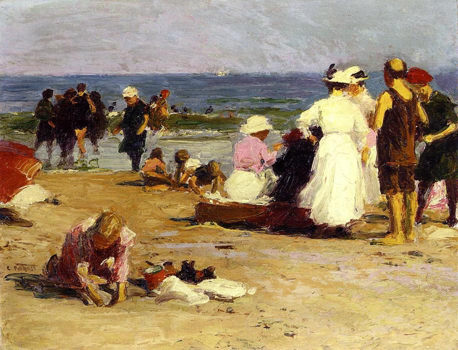 Bathers in the Surf by Edward Henry Potthast (1857-1927, United States) | Painting Copy | WahooArt.com