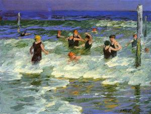 Edward Henry Potthast - Bathing in the Surf