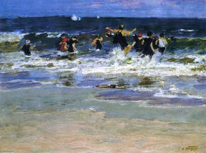 Edward Henry Potthast - Beach Scene, Jumping in the Surf