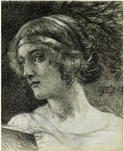 Edward John Poynter - Study Of A Woman's Head