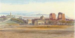 Edward Lear - St John Lateran And The Claudian Aqueduct, Rome, Italy
