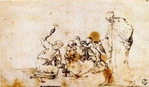 Jusepe De Ribera (Lo Spagnoletto) - Group of figures around a blacksmith