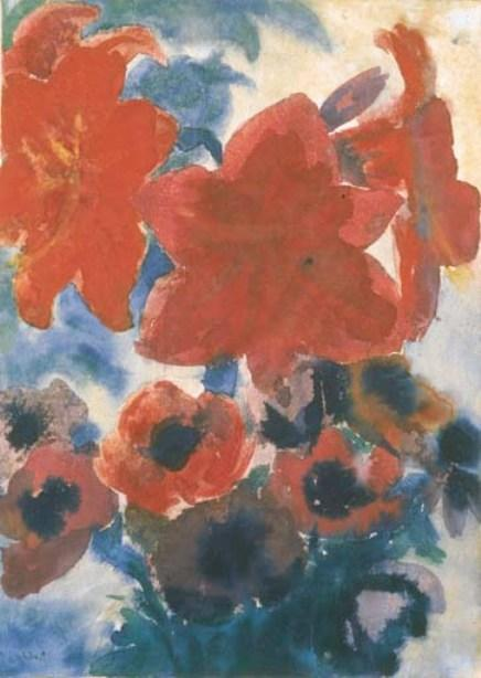 Amaryllis and Anemone by Emile Nolde (1867-1956, Germany) |  | WahooArt.com