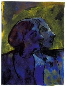 Emile Nolde - Blue Couple (in Profile) in Sidelight