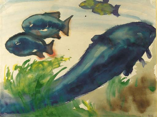 Blue Fish by Emile Nolde (1867-1956, Germany) | Oil Painting | WahooArt.com