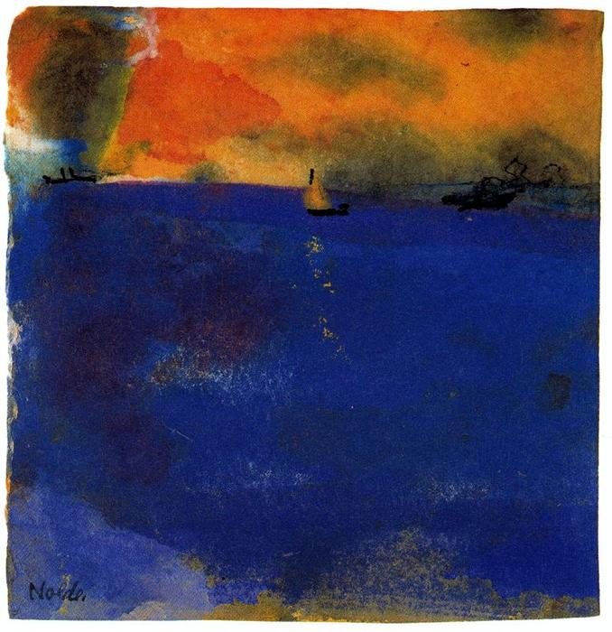 Blue Sea (Sailboat and Two Steamships) by Emile Nolde (1867-1956, Germany) |  | WahooArt.com