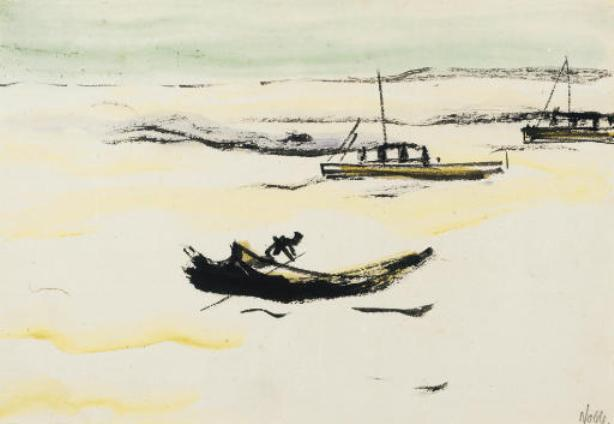Boats by Emile Nolde (1867-1956, Germany) | Museum Quality Reproductions | WahooArt.com