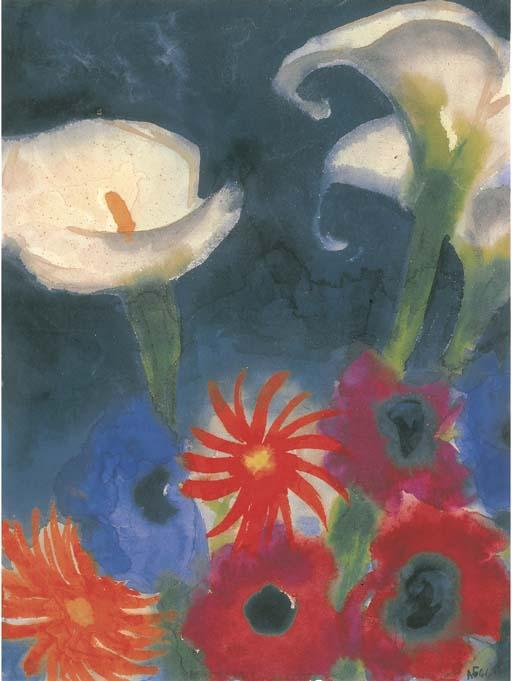 Calla, Anemones and Gerbera by Emile Nolde (1867-1956, Germany) |  | WahooArt.com