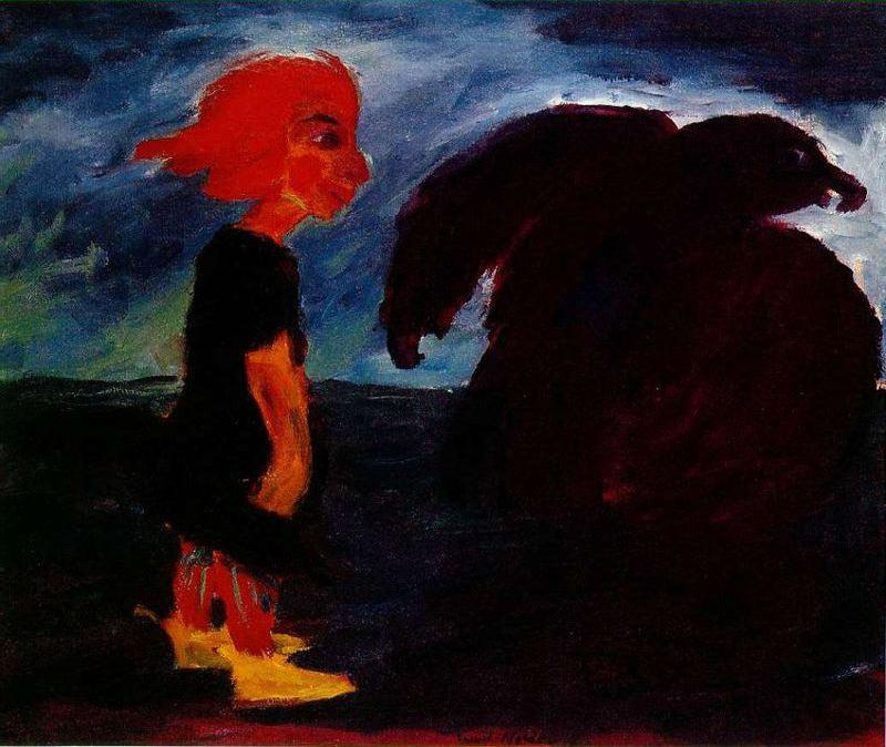 Child and Large Bird by Emile Nolde (1867-1956, Germany) | Museum Quality Reproductions | WahooArt.com