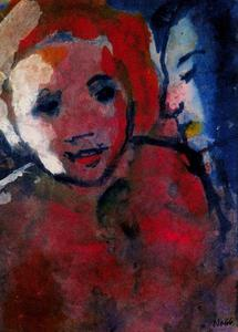 Emile Nolde - Couple (Red and Blue) in Sidelight
