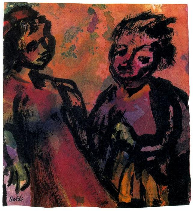 Couple (Reddish-brown) by Emile Nolde (1867-1956, Germany) | Oil Painting | WahooArt.com