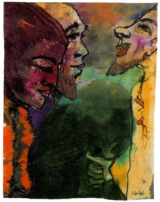 Couple and Goateed Man (in Profile) by Emile Nolde (1867-1956, Germany) | Painting Copy | WahooArt.com