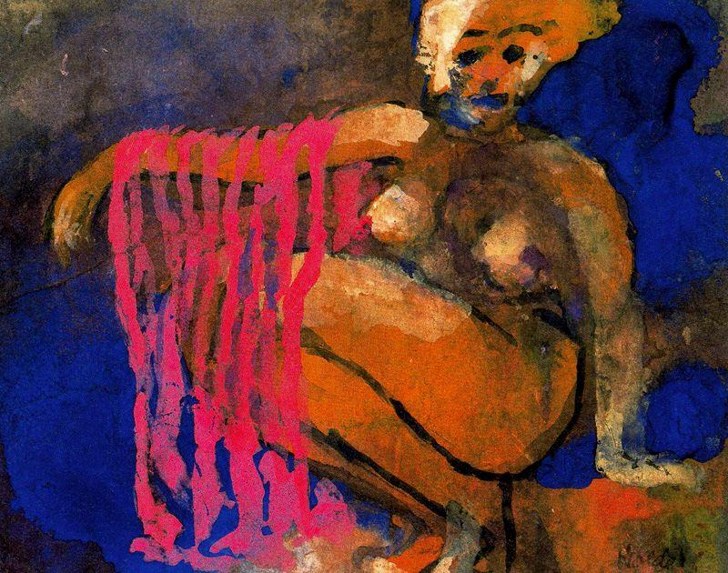Crouching Nude by Emile Nolde (1867-1956, Germany) | Museum Quality Reproductions | WahooArt.com