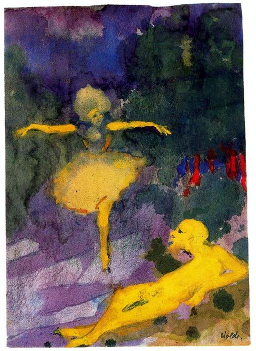 Dancer and Reclining Man by Emile Nolde (1867-1956, Germany) |  | WahooArt.com