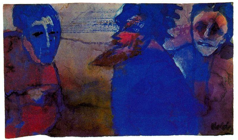 Discussion (Blue) by Emile Nolde (1867-1956, Germany) |  | WahooArt.com