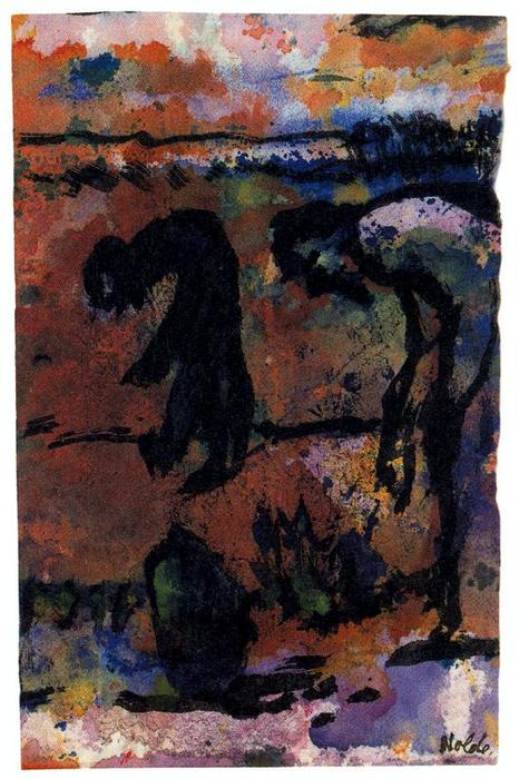 Figures Bending Over by Emile Nolde (1867-1956, Germany) | Museum Quality Reproductions | WahooArt.com
