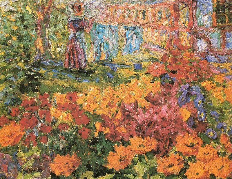 Flower Garden (Girl and Washing), Oil by Emile Nolde (1867-1956, Germany)