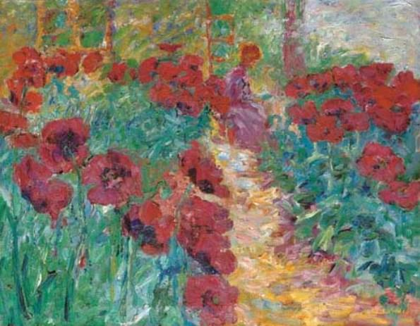 Flower garden, woman and poppies by Emile Nolde (1867-1956, Germany) | Famous Paintings Reproductions | WahooArt.com