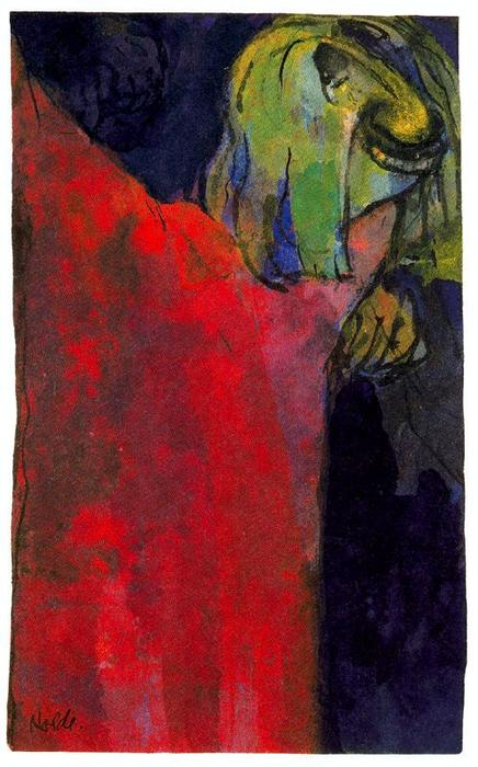 Green Head above Red Cloak by Emile Nolde (1867-1956, Germany) | Art Reproduction | WahooArt.com