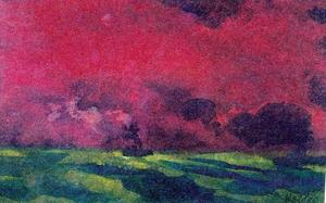 Emile Nolde - Green Sea under Reddish-brown Sky (Two Steamers)