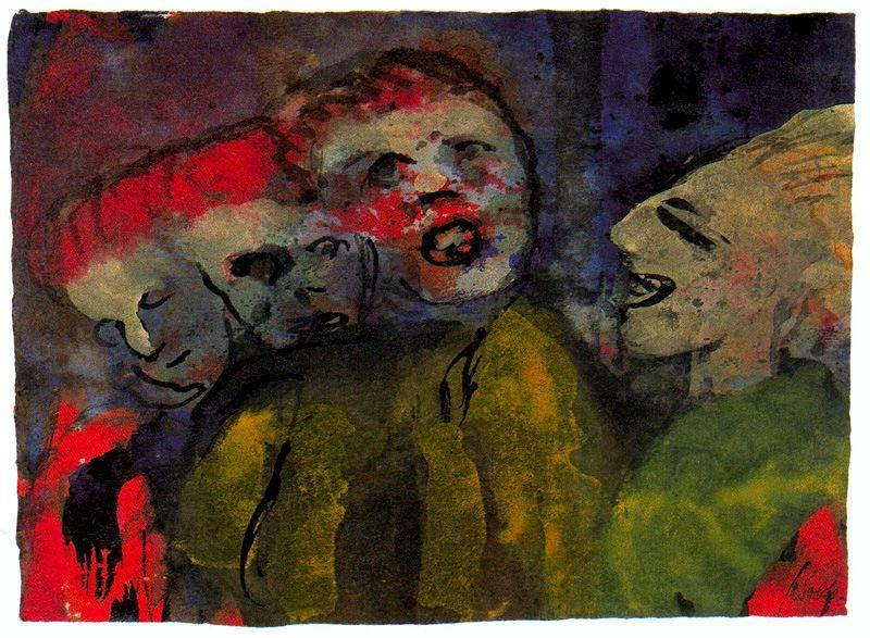 Grotesque Figures (Red, Yellow, Green) by Emile Nolde (1867-1956, Germany) |  | WahooArt.com