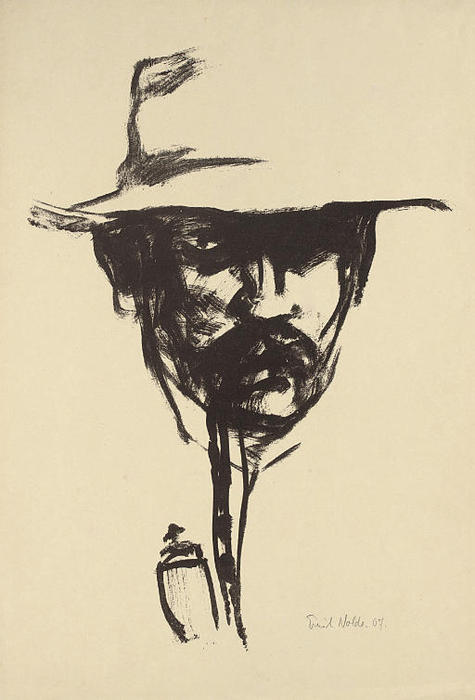 Head with pipe by Emile Nolde (1867-1956, Germany) | Painting Copy | WahooArt.com