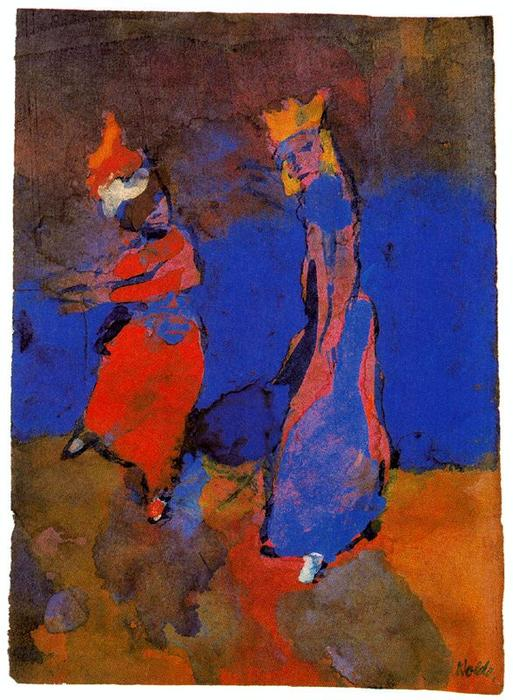 King and Dancing Woman by Emile Nolde (1867-1956, Germany) | Famous Paintings Reproductions | WahooArt.com
