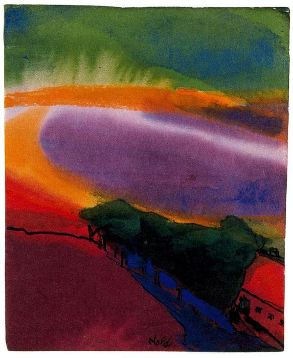 Landscape (Red-Yellow-Green) by Emile Nolde (1867-1956, Germany) | Painting Copy | WahooArt.com