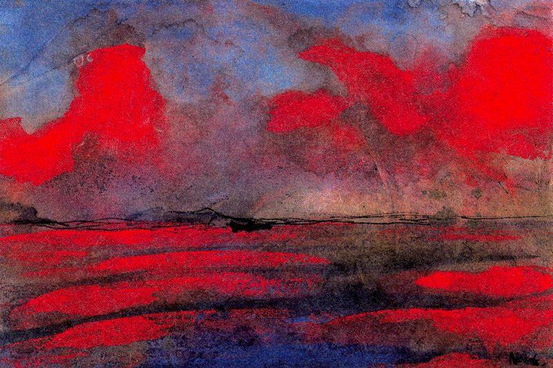 Landscape in Red Light by Emile Nolde (1867-1956, Germany) |  | WahooArt.com