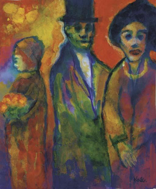 Man and two women 1 by Emile Nolde (1867-1956, Germany) | Oil Painting | WahooArt.com