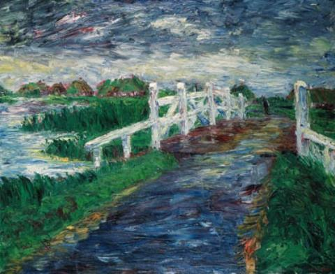Marsh bridge by Emile Nolde (1867-1956, Germany) | Art Reproduction | WahooArt.com