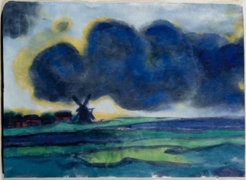 Marsh landscape with windmill 1 by Emile Nolde (1867-1956, Germany) |  | WahooArt.com