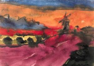 Emile Nolde - Marsh landscape with windmill