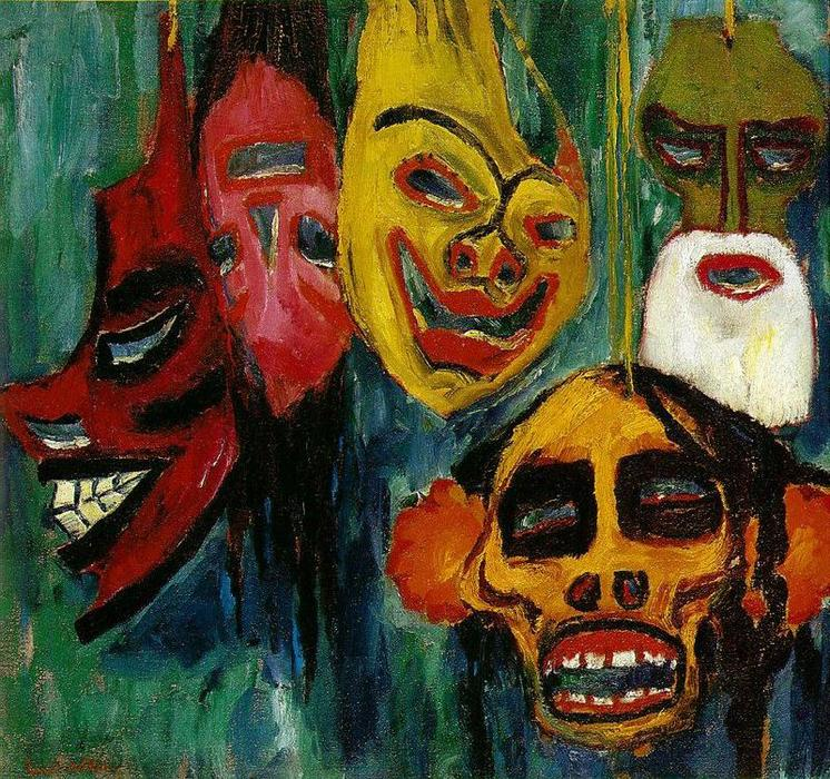 Mask. Still Life by Emile Nolde (1867-1956, Germany) |  | WahooArt.com