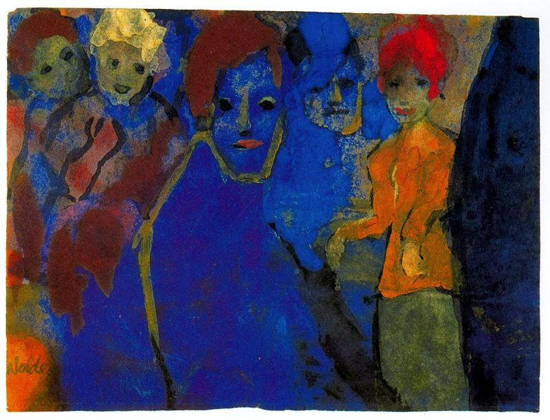 Men and Women (Blue and Red) by Emile Nolde (1867-1956, Germany) |  | WahooArt.com