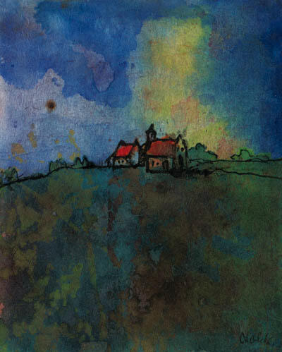 Monastery landscape by Emile Nolde (1867-1956, Germany) | Museum Quality Reproductions | WahooArt.com