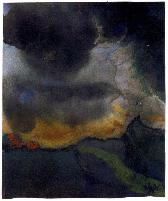 MOuntain Landscape with Dark Clouds by Emile Nolde (1867-1956, Germany) |  | WahooArt.com