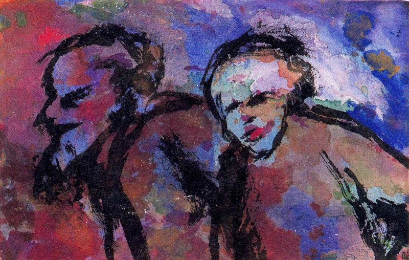 Old couple in Dark Light (Twilight) by Emile Nolde (1867-1956, Germany) |  | WahooArt.com