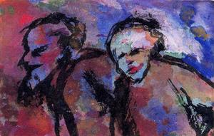 Emile Nolde - Old couple in Dark Light (Twilight)