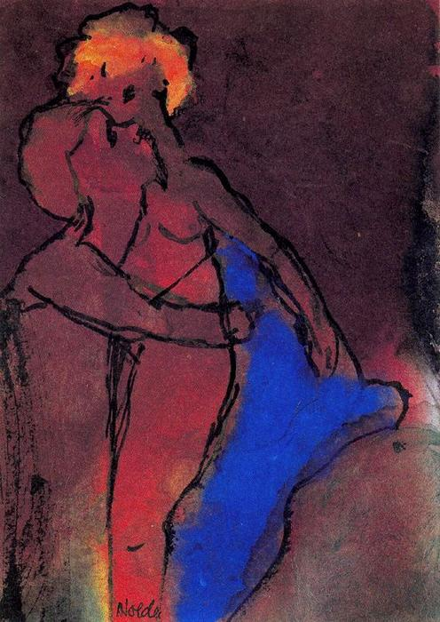 Reddish-brown Couple (Embracing) by Emile Nolde (1867-1956, Germany) | Art Reproduction | WahooArt.com
