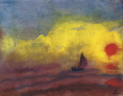 Sailors and sinking sun by Emile Nolde (1867-1956, Germany) |  | WahooArt.com