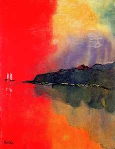 Emile Nolde - Seacoast (Red Sky, Two White Sails)
