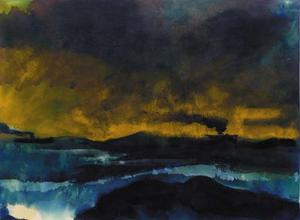 Emile Nolde - Steamers at sea with a yellow sky