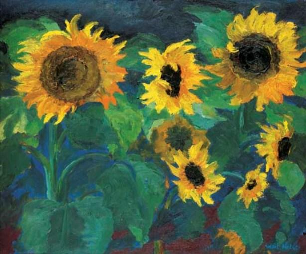 Sunflower image I by Emile Nolde (1867-1956, Germany) | Famous Paintings Reproductions | WahooArt.com