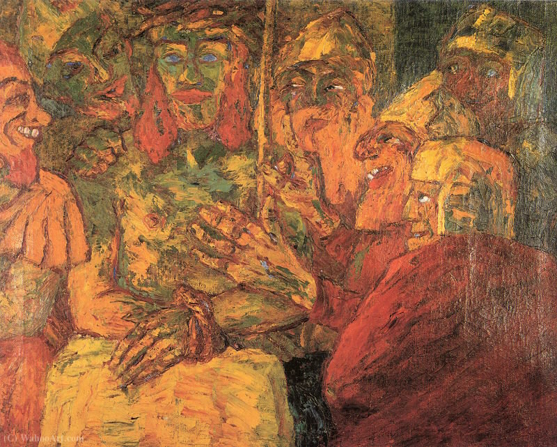 The Mocking of Christ, 1909 by Emile Nolde (1867-1956, Germany) | Oil Painting | WahooArt.com