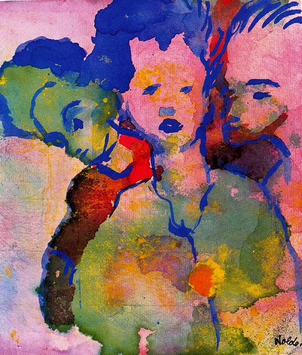 Three Young Women by Emile Nolde (1867-1956, Germany) | Painting Copy | WahooArt.com