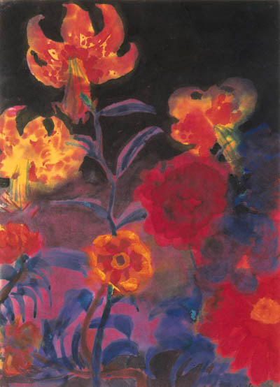 Tiger lilies and dahlias by Emile Nolde (1867-1956, Germany) |  | WahooArt.com