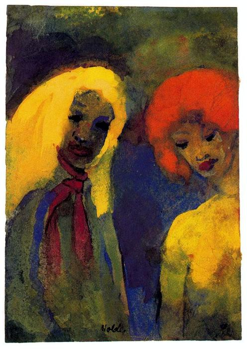 Two Women (Yellow and Red Hair) by Emile Nolde (1867-1956, Germany) | Famous Paintings Reproductions | WahooArt.com