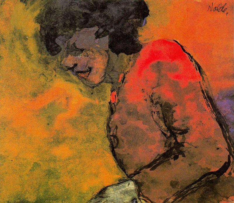 Woman in a Red Dress (in Profile) by Emile Nolde (1867-1956, Germany) | Oil Painting | WahooArt.com